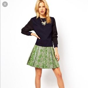 🆕ASOS green camo python pleated leather skirt
